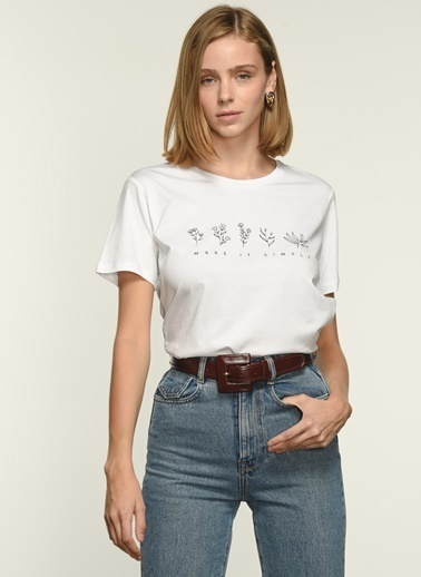 NGSTYLE Kadın Baskılı  Tişört NGKSS21TS0033 Beyaz